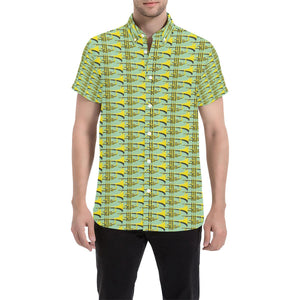 Trumpet Vintage Design Print Button Up Shirt-kunshirts.com