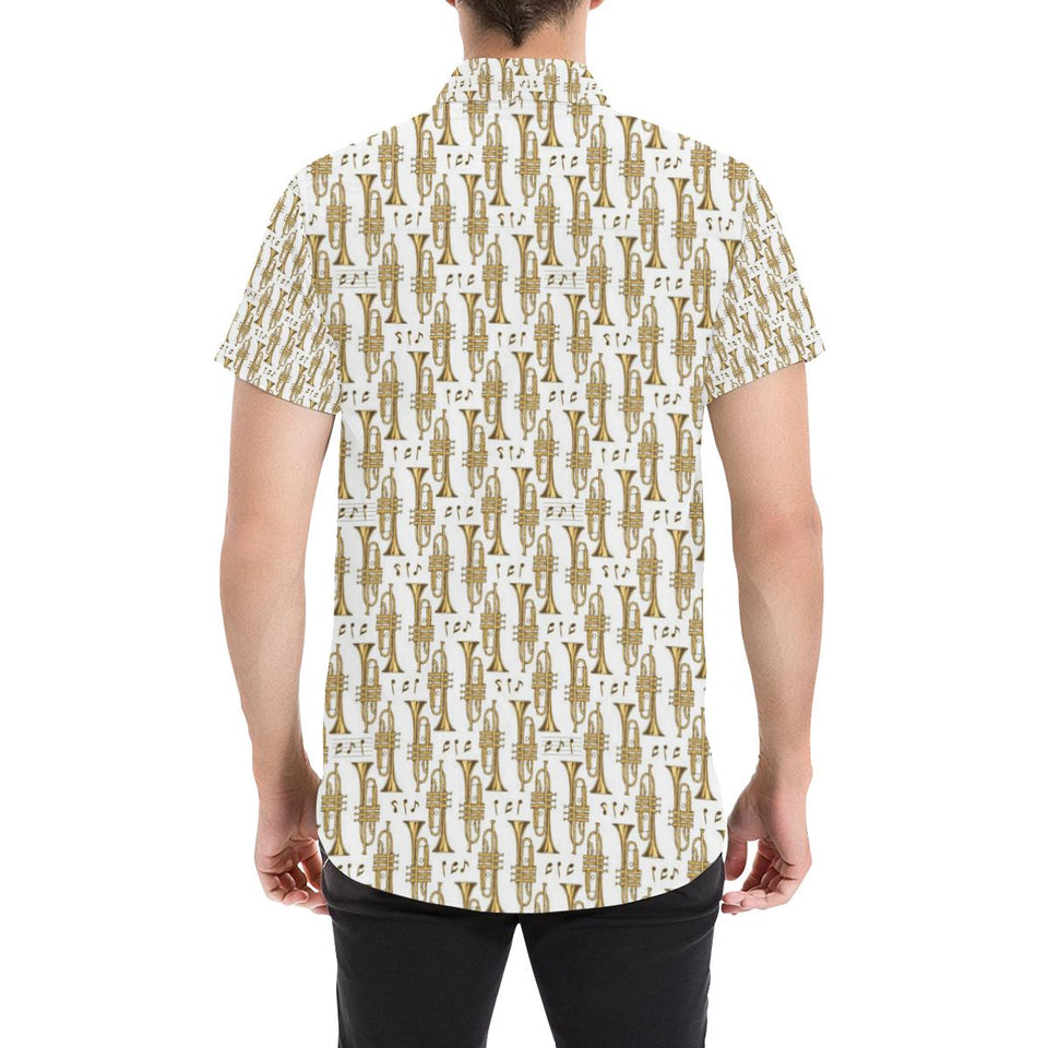 Trumpet with Music Note Print Button Up Shirt-kunshirts.com