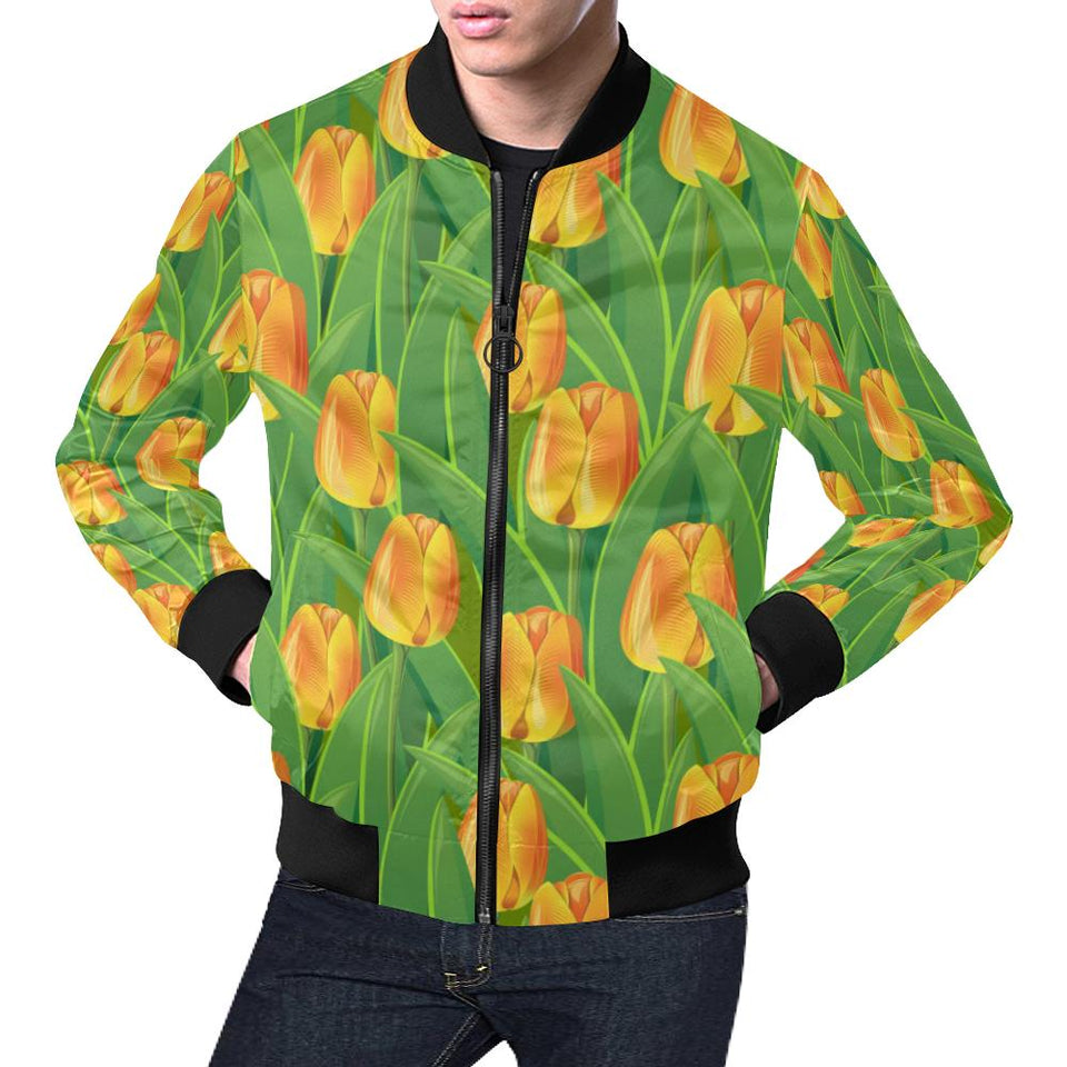 Tulip Orange Pattern Print Design TP07 Men Bomber Jacket-kunshirts.com