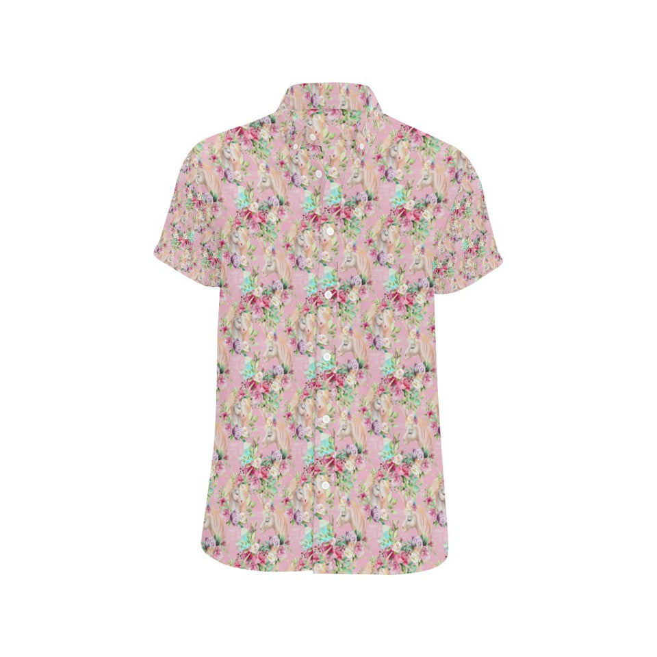 Unicorn Princess with Rose Button Up Shirt-kunshirts.com