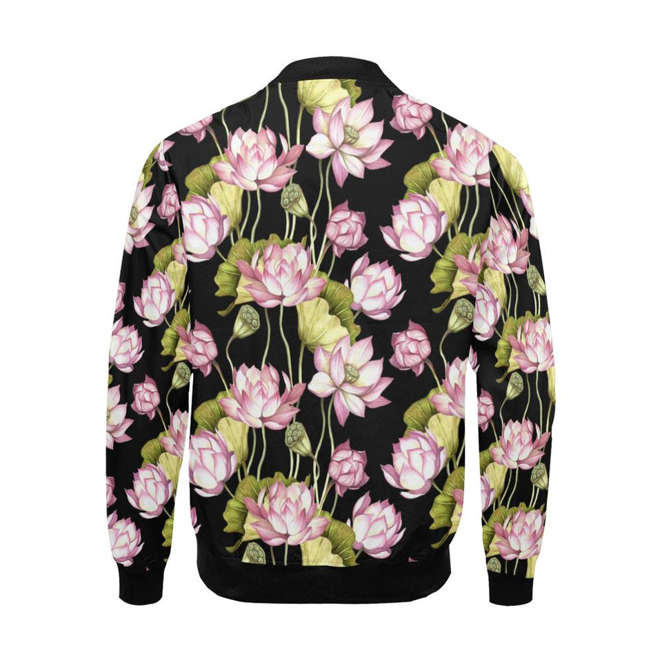 Water Lily Pattern Print Design WL06 Men Bomber Jacket-kunshirts.com