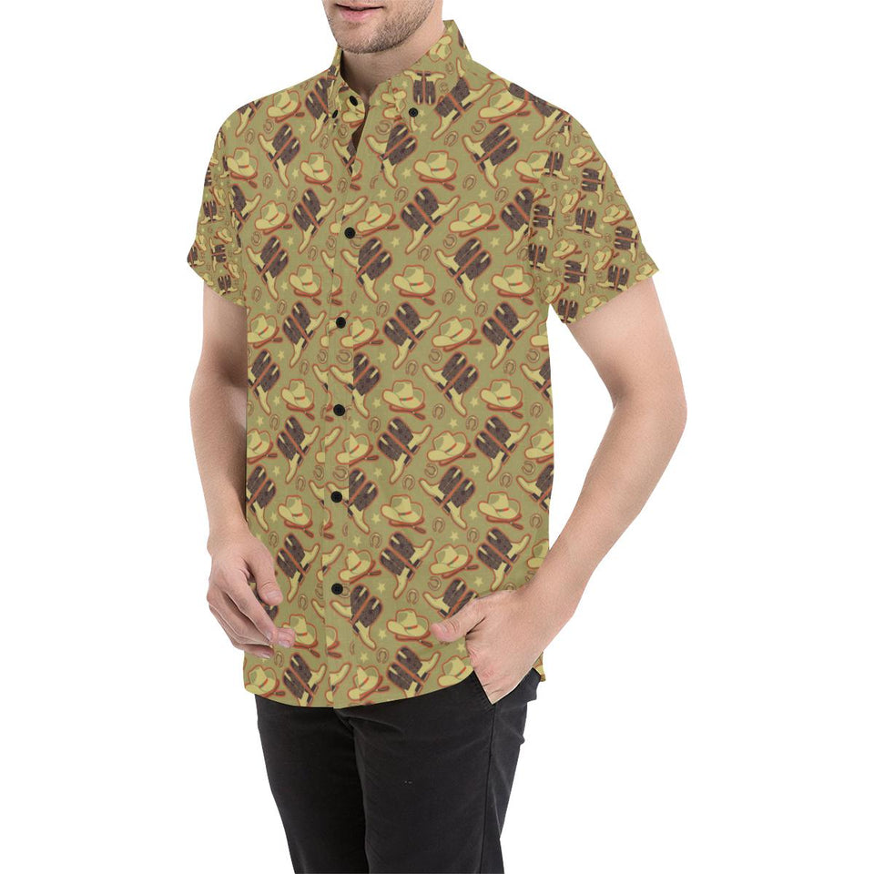 Western Cowboy Themed Button Up Shirt-kunshirts.com