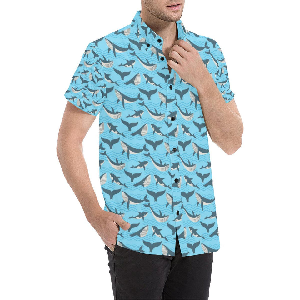 Whale Pattern Design Themed Print Button Up Shirt-kunshirts.com
