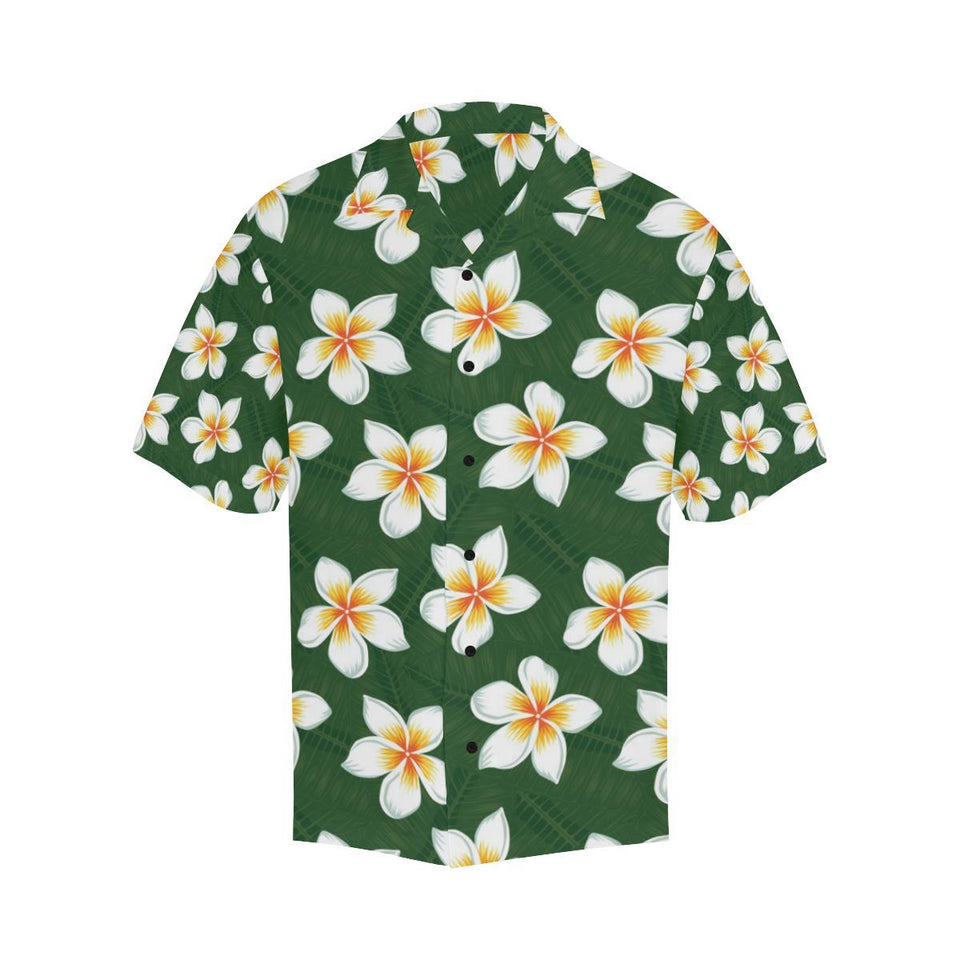 White Plumeria Pattern Print Design PM020 Hawaiian Shirt-kunshirts.com