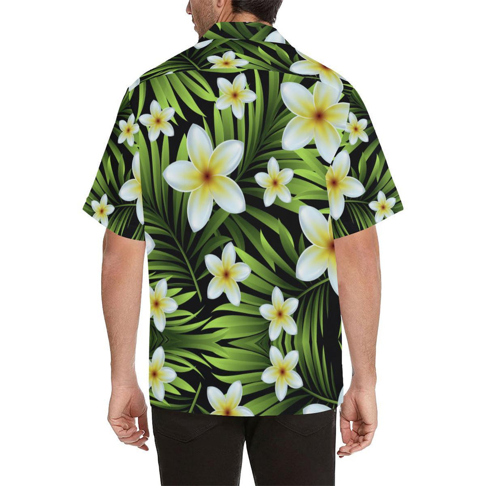 White Plumeria Pattern Print Design PM06 Hawaiian Shirt-kunshirts.com