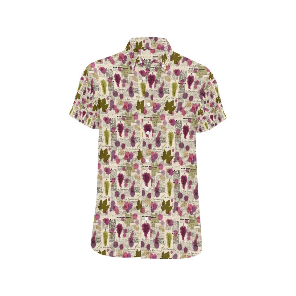 Wine Style Design Print Button Up Shirt-kunshirts.com