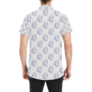 Wolf with Flower Print Design Button Up Shirt-kunshirts.com