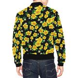 Yellow Hibiscus Pattern Print Design HB08 Men Bomber Jacket-kunshirts.com