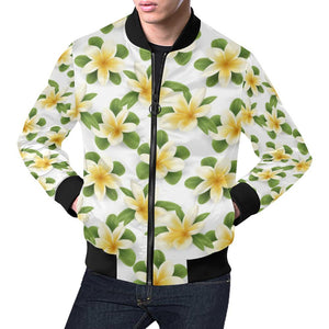 Yellow Plumeria Pattern Print Design PM012 Men Bomber Jacket-kunshirts.com