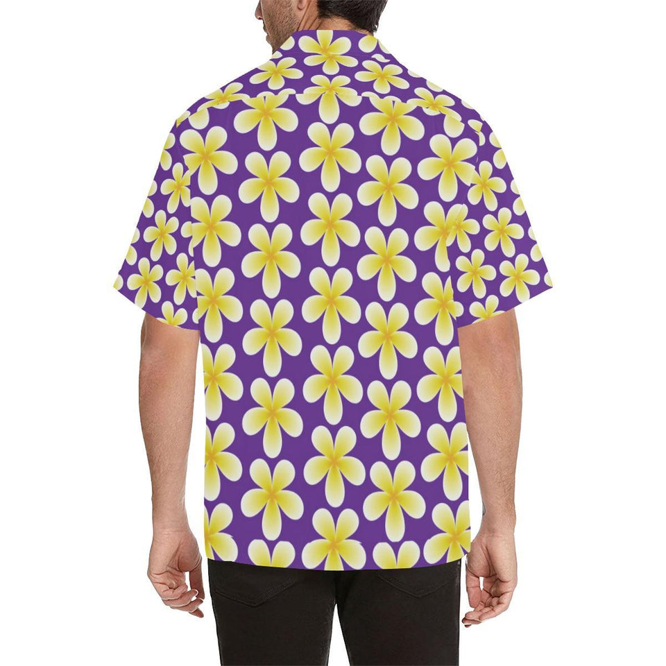 Yellow Plumeria Pattern Print Design PM05 Hawaiian Shirt-kunshirts.com