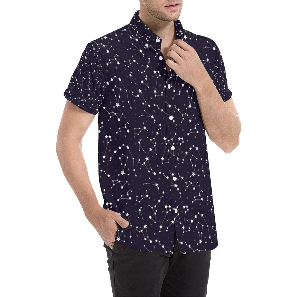 Zodiac Star Pattern Design Print Button Up Shirt-kunshirts.com