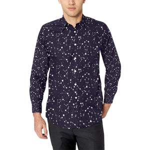 Zodiac Star Pattern Design Print Long Sleeve Dress Shirt-kunshirts.com