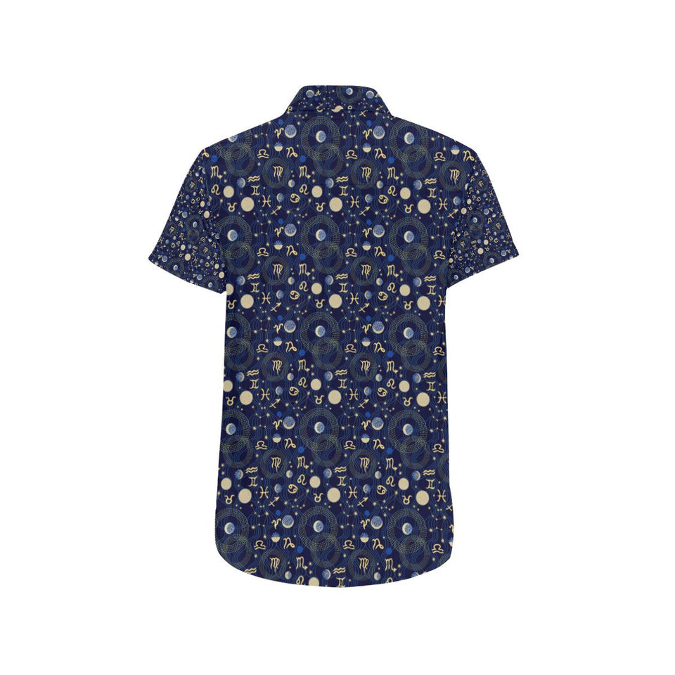 ZodiacThemed Design Print Button Up Shirt-kunshirts.com