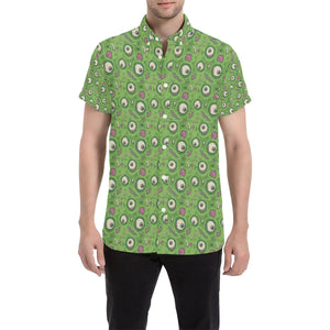 Zombie Eyes Design Pattern Print Button Up Shirt-kunshirts.com