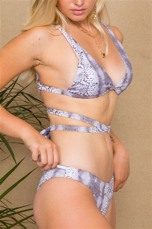 Snake Skin Print Wrap Around 2 Piece Bikini Set