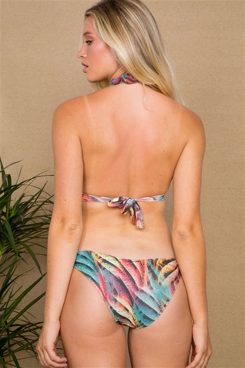 Multi Snake Print Side Cutout One Piece Swimsuit