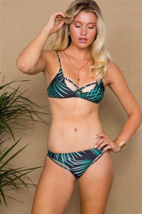 Tropical Print 2 Piece Bikini Set