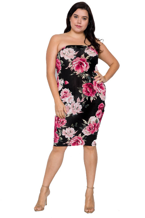 Plus Size 2 Way Wear Black Floral Print Tube Midi Dress - Long Skirt