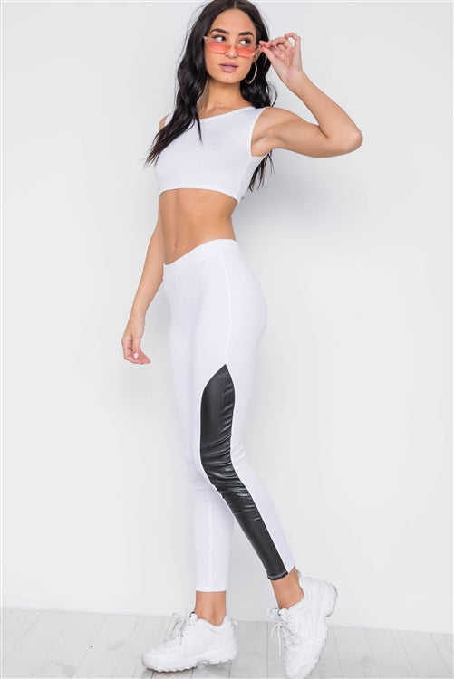 Faux Leather Sides Mid Rise Leggings
