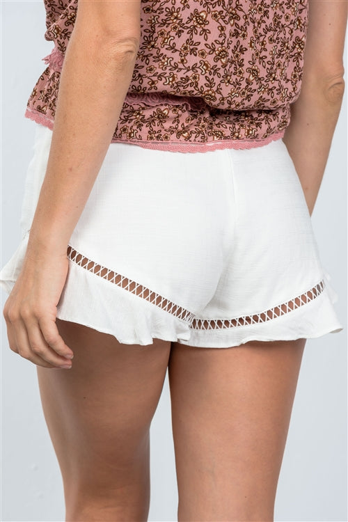 Boho White Ladder Trim Frill Hem Babydoll Shorts