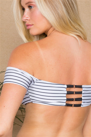 White Black Stripes Strappy 2 Piece Bikini Set