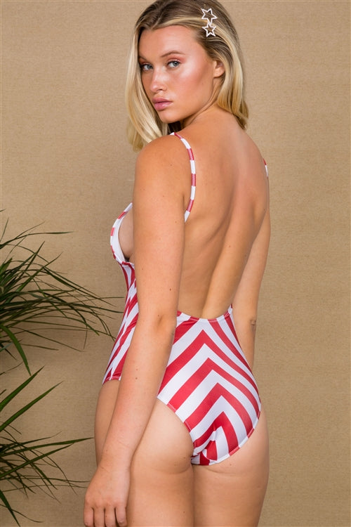 Red White Stripe One Piece Swimsuit