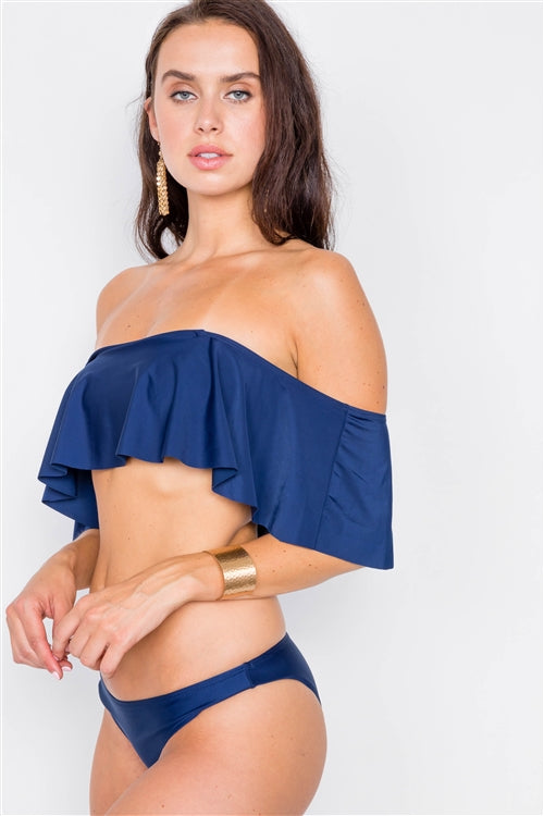Off The Shoulder Flounce 2 Piece Bikini Set