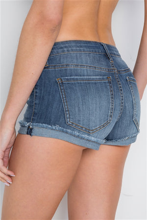 Denim Low Rise Button Fly Shorts