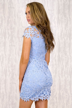 Dress With Heavy Lace Embroidery Feature - Blue
