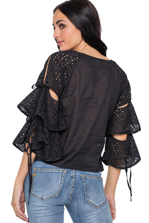 Embroidery Cut Out Flounce Sleeve Top