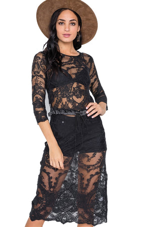 Lace See Through Midi Dress