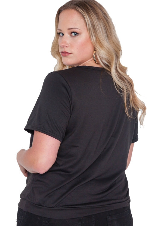 Whatsupbro Gold Graphic Plus Size Top