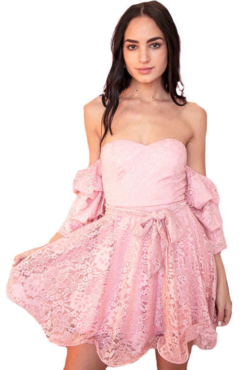 Flounce Hem Off The Shoulder Lace Mini Dress