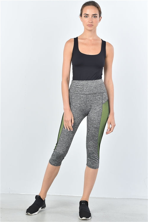 Colour Block Mesh Insert Knee Length Leggings