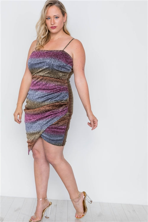 Plus Size Rainbow Cami Asymmetrical Hem Dress