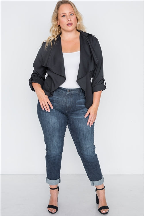 Plus Size Black Draped Open Front Light Jacket