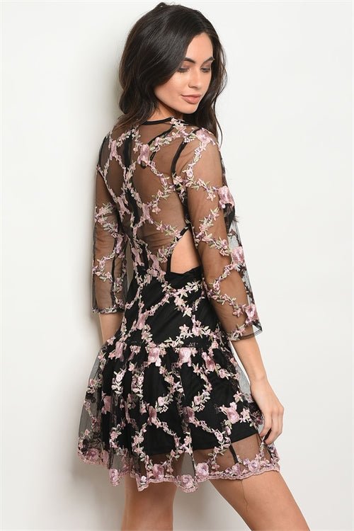 Floral Embroidered 3/4 Sleeve Dress - Black