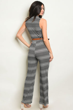 V Neck Button Front Jumpsuit