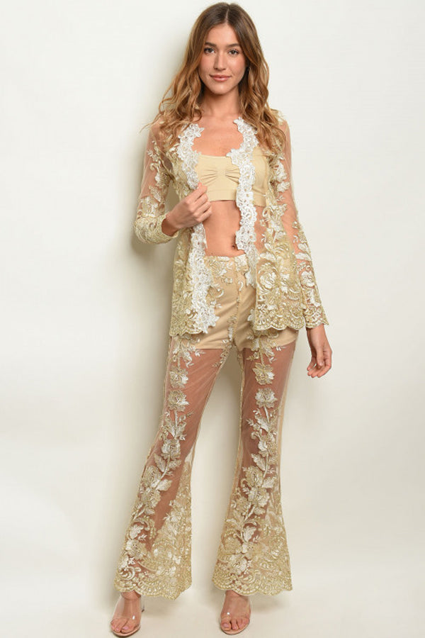 Jacket and Pants 2 Piece Set - Gold
