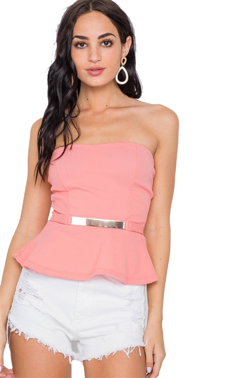 Gold Belted Peplum Strapless Top