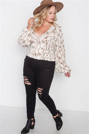 Plus Size Ivory Floral V Neck Ruffle Long Sleeve Top