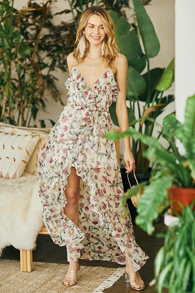 Cream Multi Floral Maxi Dress at Gold Coast Girl Fashion