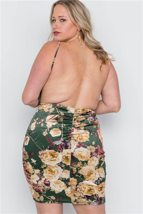 Plus Size Hunter Green Velvet Cami Floral Bodycon Mini Dress