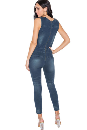 Dark Denim Stretch Lace Up Bodycon Jumpsuit