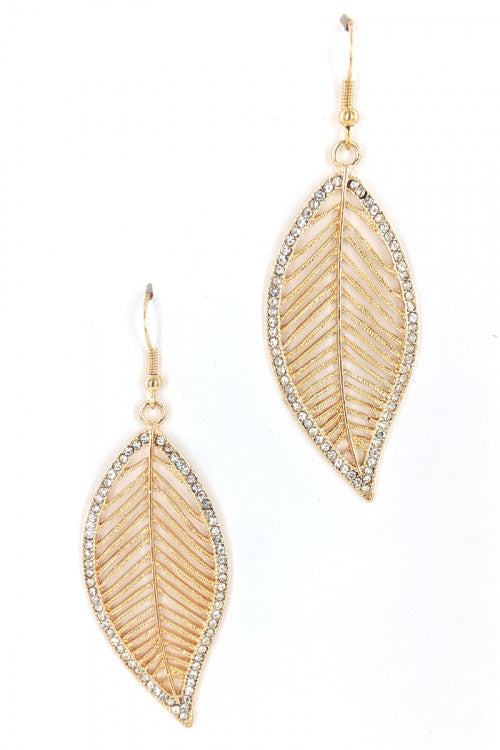 Leaf With Stones Fashion Earrings