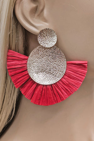 Hammer Style Raffia Earrings