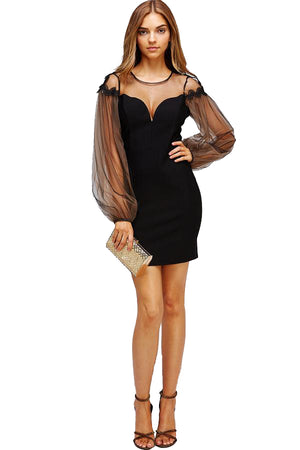 Puff Sleeve Bodycon Dress at Gold Coast Girl Fashion