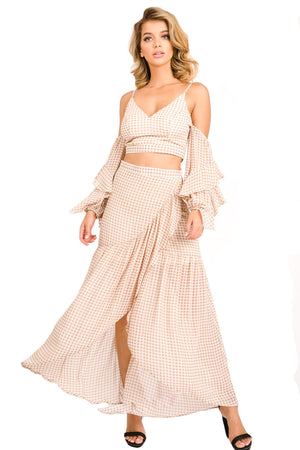Gingham Pattern Woven 2 Piece Set