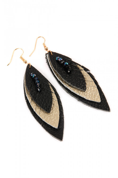 Three Layer Fringed Leather Marquee Fashion Earrings