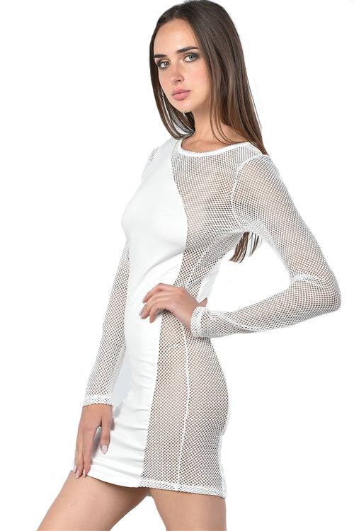 Fishnet Detail Bodycon Mini Dress